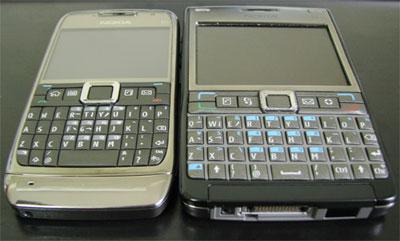 So sánh bàn phím Qwerty của E71 với ông anh E61i. Ảnh: Nguyễn Đức Trung.