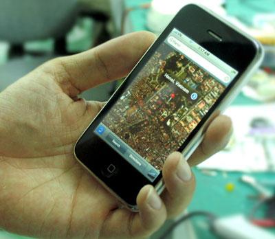 GPS của iPhone hiện chỉ sử dụng tại những nơi có kết nối Wi-Fi. Ảnh: Quốc Huy.