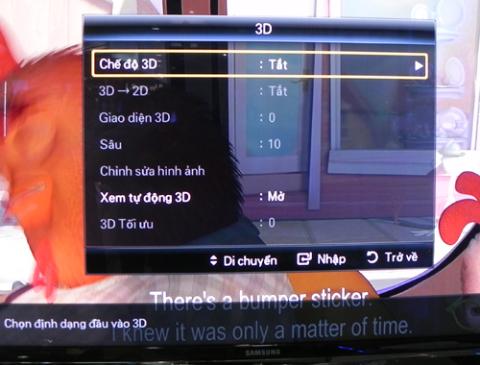 Giao diện điều chỉnh tính năng 3D trên mẫu TV Samsung 3D LED C7000. Ảnh: T.A.