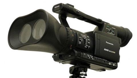 Máy quay 3D chuyên nghiệp với ống kính đúp của Panasonic. Ảnh: Crunchgear.