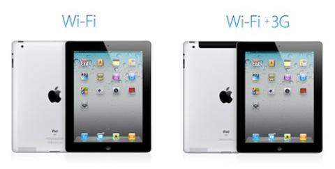iPad 2 cũng có các bản để lựa chọn như iPad 1.
