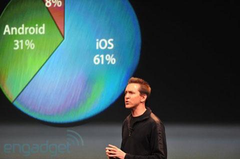 Scott Forstall đang nói về iOS. Ảnh: Engadget.