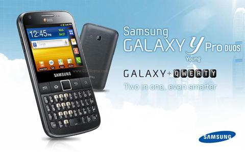 Hình ảnh quảng cáo của Galaxy Y Pro Duos.