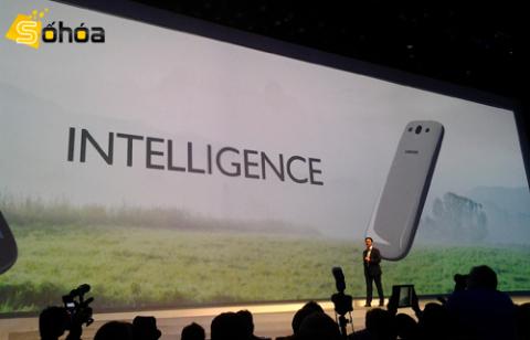 Tại sự kiện Mobile Unpacked 2012, Samsung đã chính thức giới thiệu chiếc smartphone Android lõi tứ đầu tiên của mình, Galaxy S III. Ảnh: Phương Thúy.
