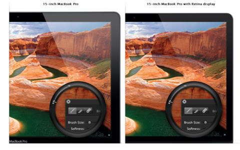 Apple nhấn mạnh nhiều vào màn hình siêu mịn trên MacBook Pro mới.