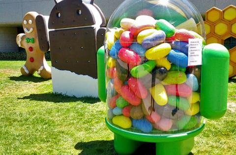 Mô hình của Android 4.1 Jelly Bean đã được dựng ngoài khuôn viên của Google, đặt cạnh biểu tượng của các phiên bản Android trước đó.