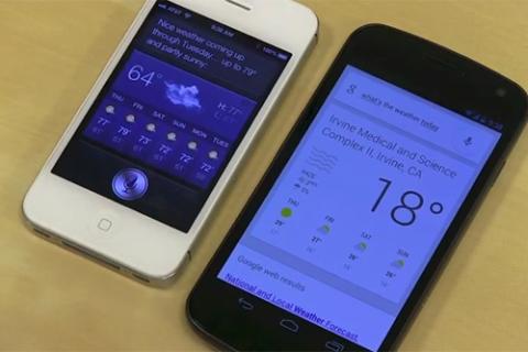 Đây là đoạn video so sánh giữa 2 ứng dụng tìm kiếm bằng giọng nói, Google Now của Android 4.1 và Siri của iOS, những đối thủ ngang tài.