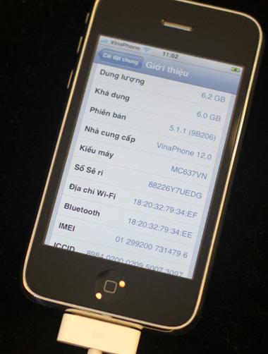 Phiên bản 3GS 8GB mới được cài đặt sẵn iOS 5.1.1. Ảnh: Tuấn Anh.