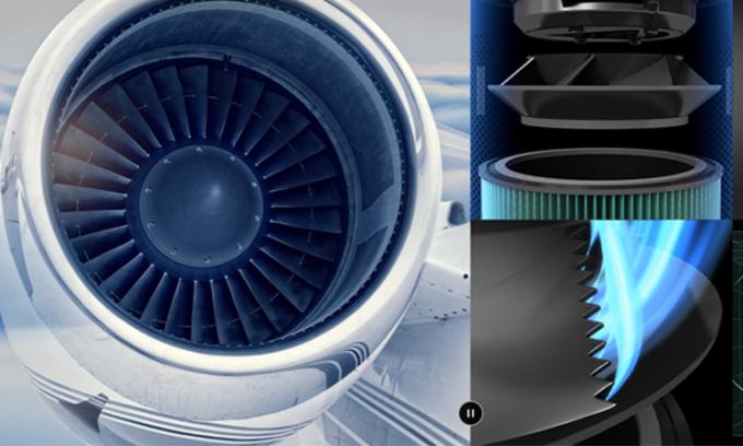 Máy lọc khí dùng quạt gió kiểu động cơ máy bay